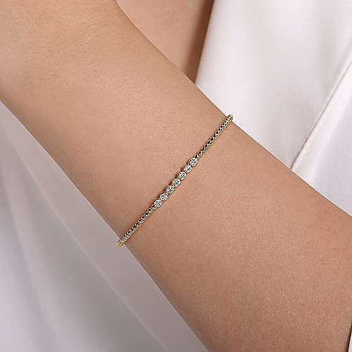 14k Yellow Gold Beaded Open Pave Diamond Bangle Bracelet