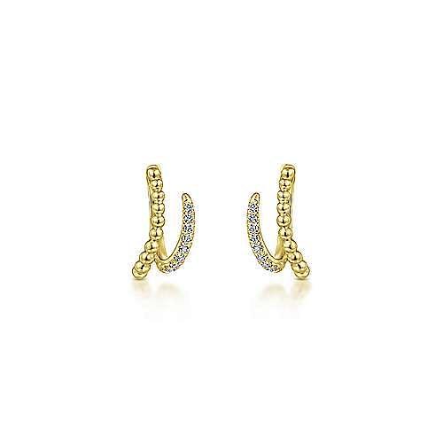 14k Yellow Gold Beaded Pave Diamond Huggie Earrings