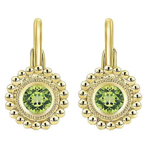 Gabriel - 14k Yellow Gold Beaded Round Peridot Drop Earrings