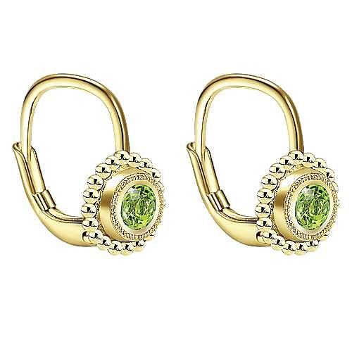 14k Yellow Gold Beaded Round Peridot Drop Earrings