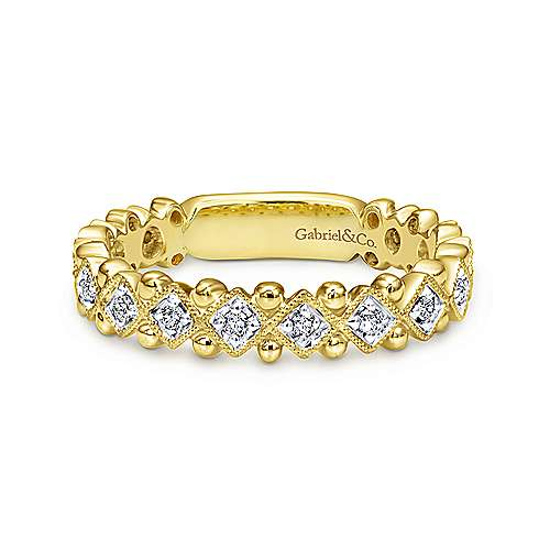 14k Yellow Gold Beaded Round and Stackable Diamond Ring