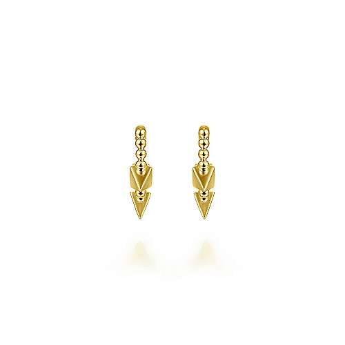 14k Yellow Gold Beaded Spiked 15mm Huggie Earrings