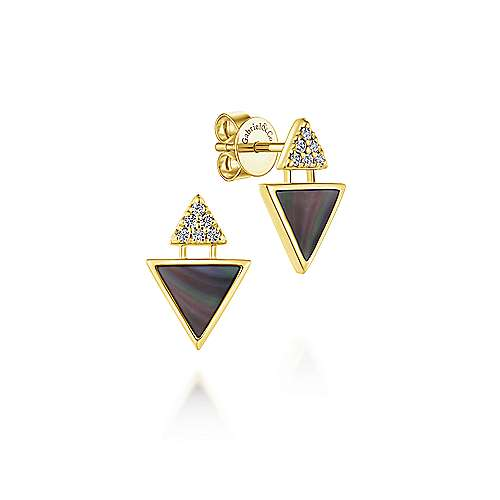 14k Yellow Gold Black Mother Of Pearl Double Triangle Stud Earrings