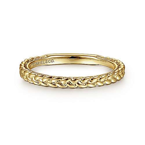 14k Yellow Gold Braided Stackable Ring