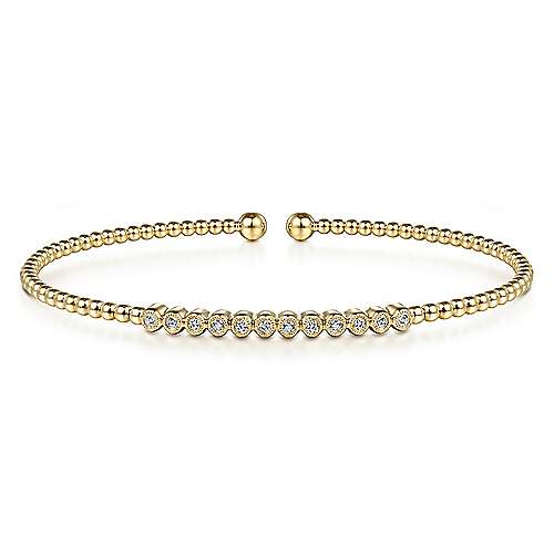 Gabriel - 14k Yellow Gold Bujukan 12 Diamond Beaded Open Bangle