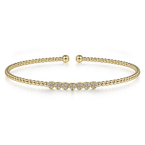Gabriel - 14k Yellow Gold Bujukan 7 Diamond Open Bangle