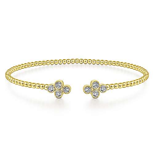 Gabriel - 14k Yellow Gold Bujukan 8 Diamond Open Bangle