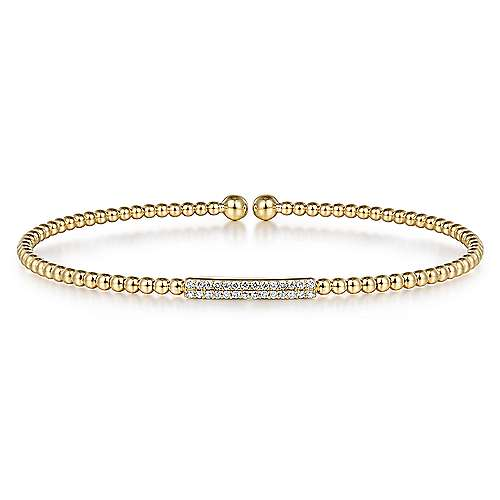 14k Yellow Gold Bujukan Diamond Bar Beaded Open Bangle