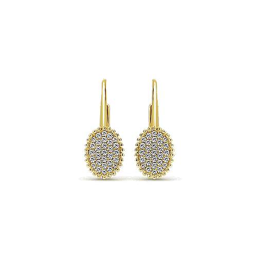 14k Yellow Gold Bujukan Drop Earrings angle 1