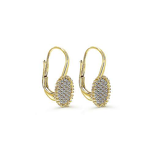14k Yellow Gold Bujukan Drop Earrings angle 2
