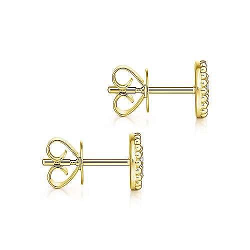 14k Yellow Gold Bujukan Stud Earrings angle 3