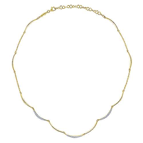 14k Yellow Gold Cascade Choker Choker Necklace angle 2