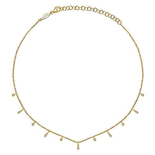 14k Yellow Gold Cascade Choker Station Necklace angle 2