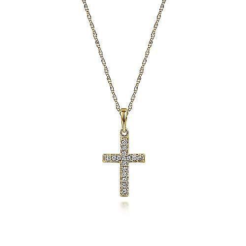 14k Yellow Gold Classic Diamond Cross Necklace