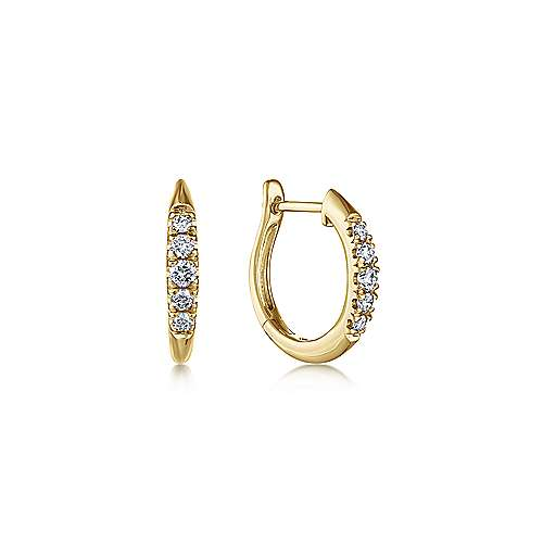Gabriel - 14k Yellow Gold Classic Round Diamond Huggie Earrings