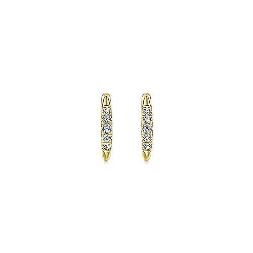 14k Yellow Gold Classic Round Diamond Huggie Earrings