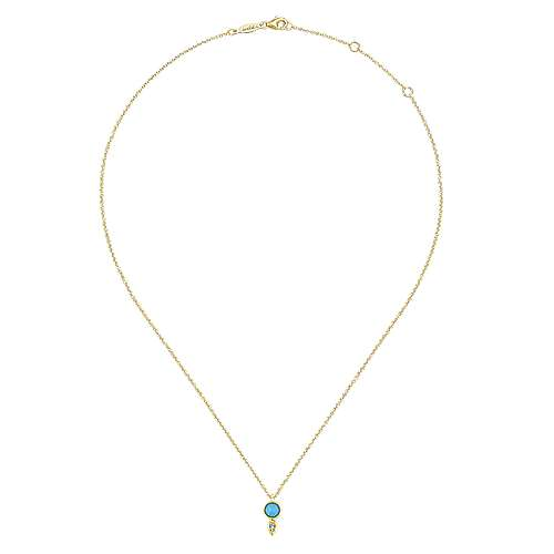 14k Yellow Gold Color Solitaire Fashion Necklace angle 2