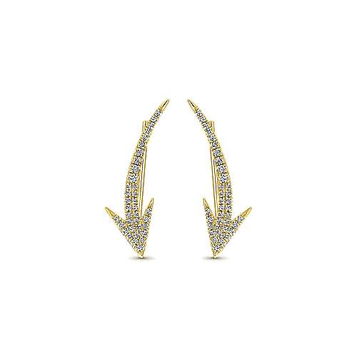 14k Yellow Gold Comets Ear Climber Earrings angle 1