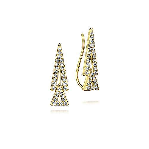 14k Yellow Gold Comets Stud Earrings angle 1