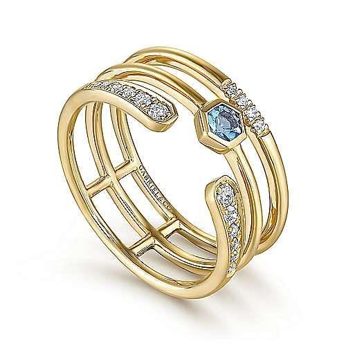 14k Yellow Gold Constellations Fashion Ladies Ring