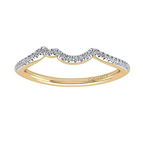 14k Yellow Gold Contemporary Curved Wedding Band angle 5