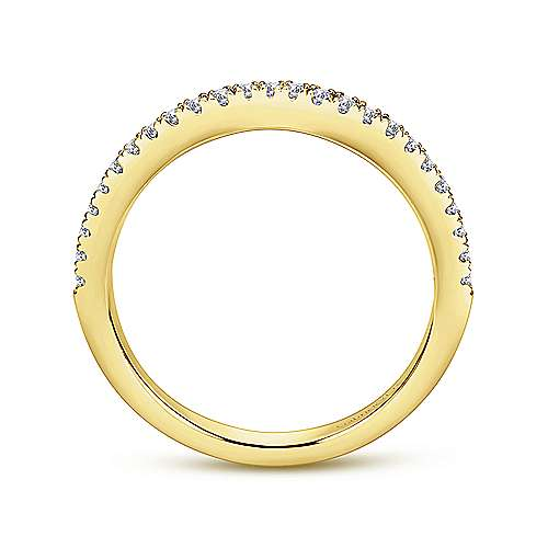 14k Yellow Gold Contemporary Curved Wedding Band angle 2