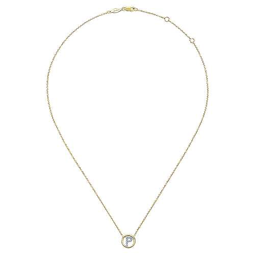 14k Yellow Gold Contemporary Initial Necklace