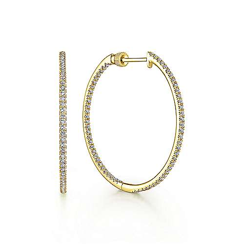 Gabriel - 14k Yellow Gold Contemporary Inside Out Diamond Hoop Earrings