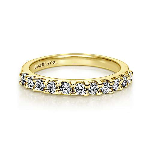 14k Yellow Gold Contemporary Straight Anniversary Band angle 1
