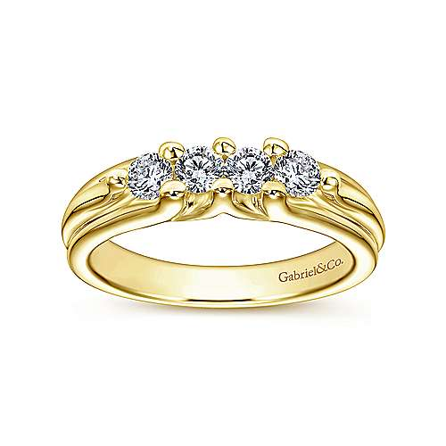 14k Yellow Gold Contemporary Straight Wedding Band angle 5