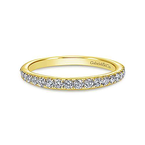 14k Yellow Gold Contemporary Straight Wedding Band angle 1