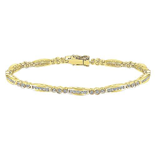 14k Yellow Gold Contemporary Tennis Bracelet angle 1