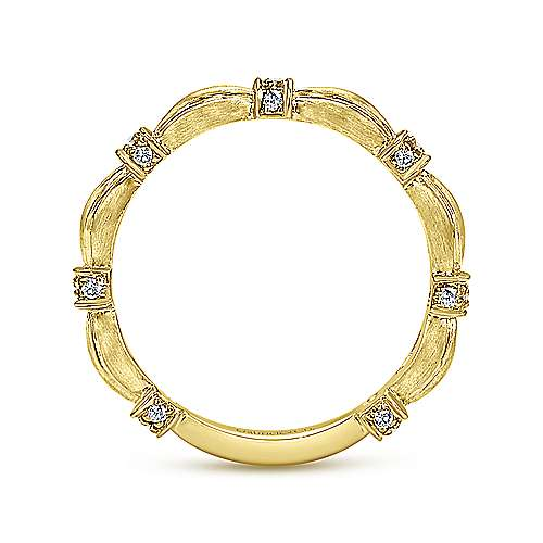 14k Yellow Gold Contoured Diamond Station Stackable Ring