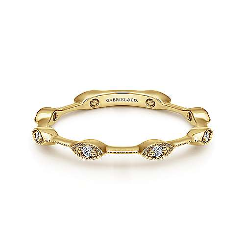 Gabriel - 14k Yellow Gold Contoured Stackable Ring