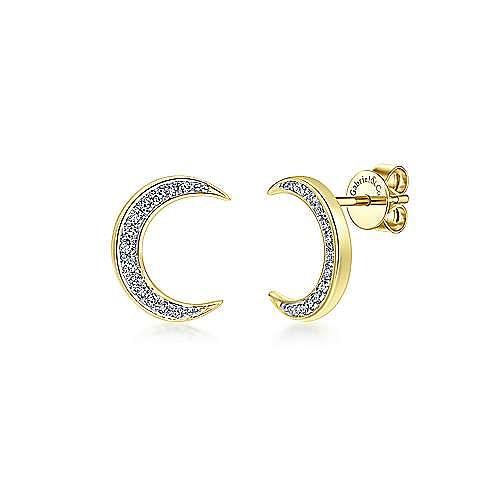 e6b76a49d 14k Yellow Gold Crescent Moon Diamond Stud Earrings | EG12446Y45JJ ...