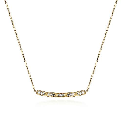 14k Yellow Gold Curved Segmented Diamond Bar Necklace