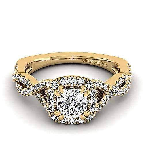 14k Yellow Gold Cushion Cut Halo Engagement Ring angle 1