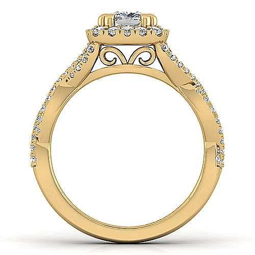 14k Yellow Gold Cushion Cut Halo Engagement Ring angle 2