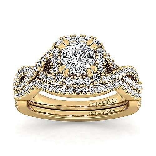 14k Yellow Gold Cushion Cut Halo Engagement Ring angle 4