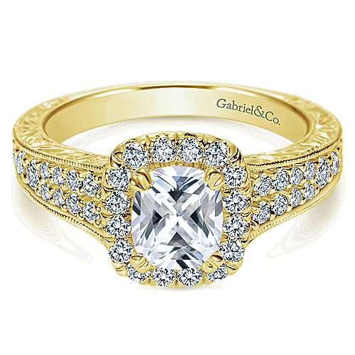 14k Yellow Gold Cushion Cut Halo Engagement Ring angle 1