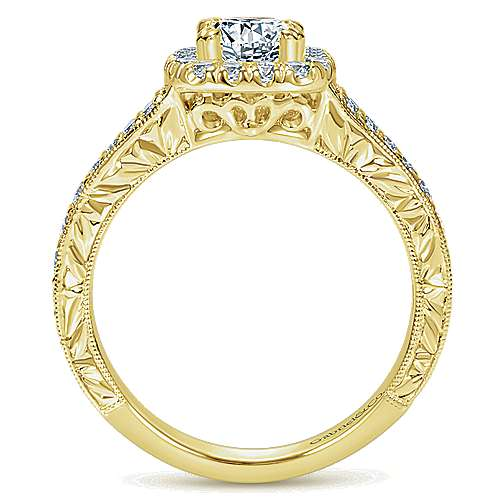14k Yellow Gold Cushion Cut Halo Engagement Ring angle 2