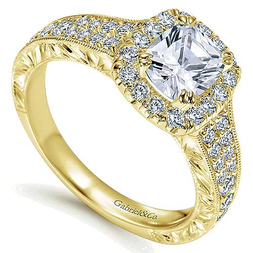 14k Yellow Gold Cushion Cut Halo Engagement Ring angle 3