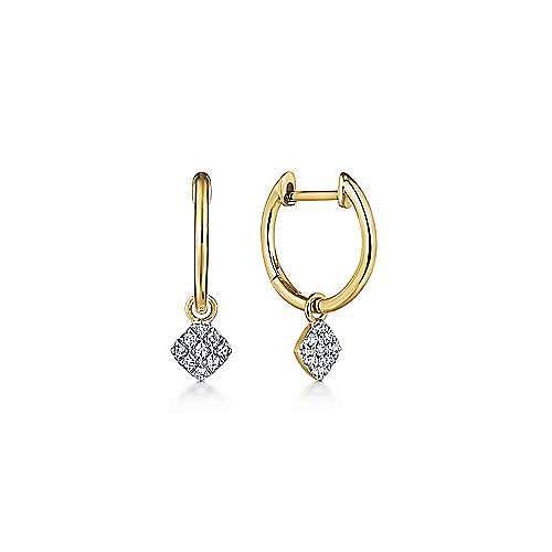 14k Yellow Gold Cushion Cut Pave Diamond Drop Earrings