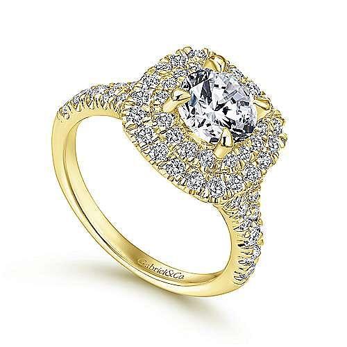 14k Yellow Gold Cushion Double Halo Round Diamond Engagement Ring