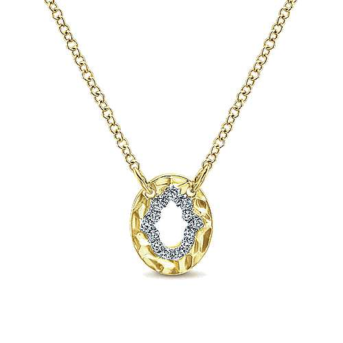 14k Yellow Gold Cutout Hamsa Diamond Pendant Necklace