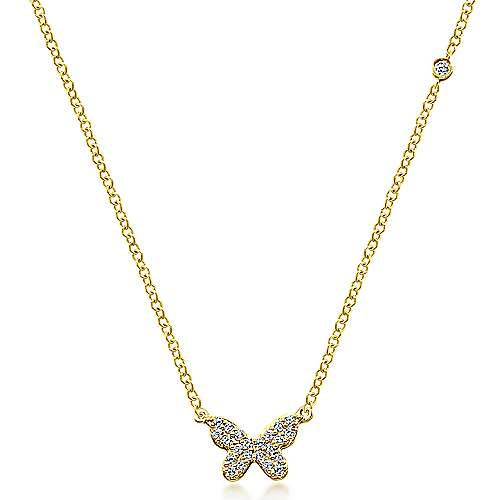 14k Yellow Gold Dainty Diamond Butterfly Necklace