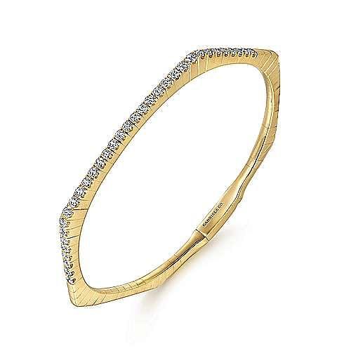14k Yellow Gold Demure Bangles Bangle angle 2