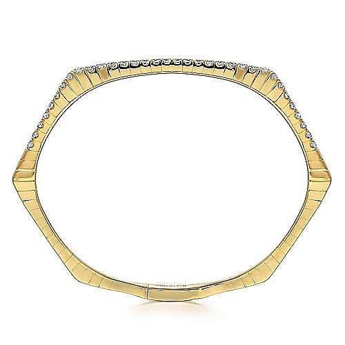 14k Yellow Gold Demure Bangle angle 3