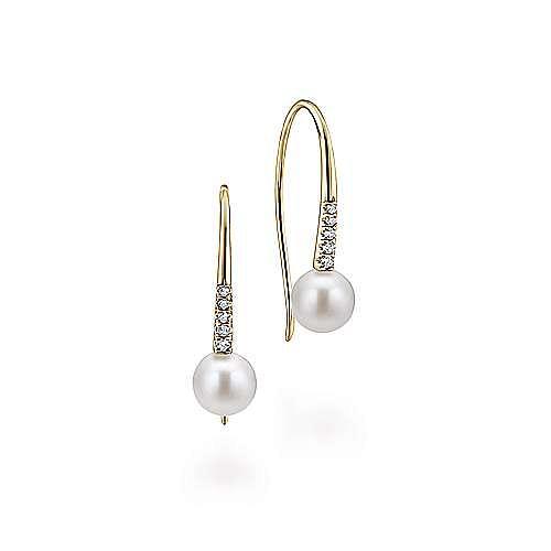 14k Yellow Gold Diamond & Cultured Pearl Drop Earrings
