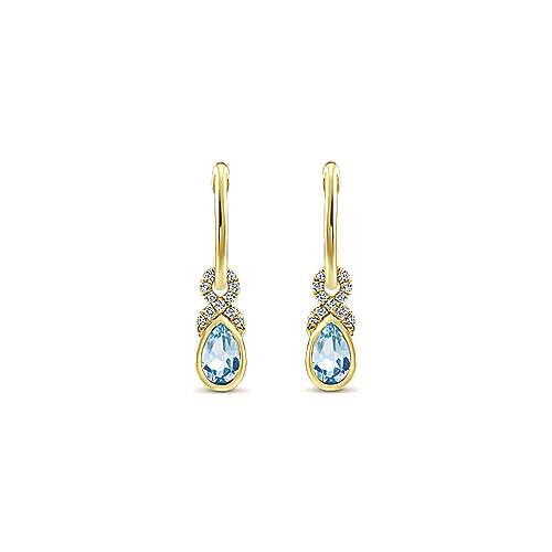 14k Yellow Gold Diamond & Pear Shaped Aquamarine Huggie Drop Earrings